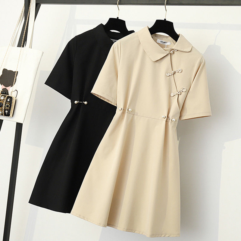 连衣裙女气质复古中国风POLO领珍珠盘扣收腰小个子仙女裙宽松显瘦