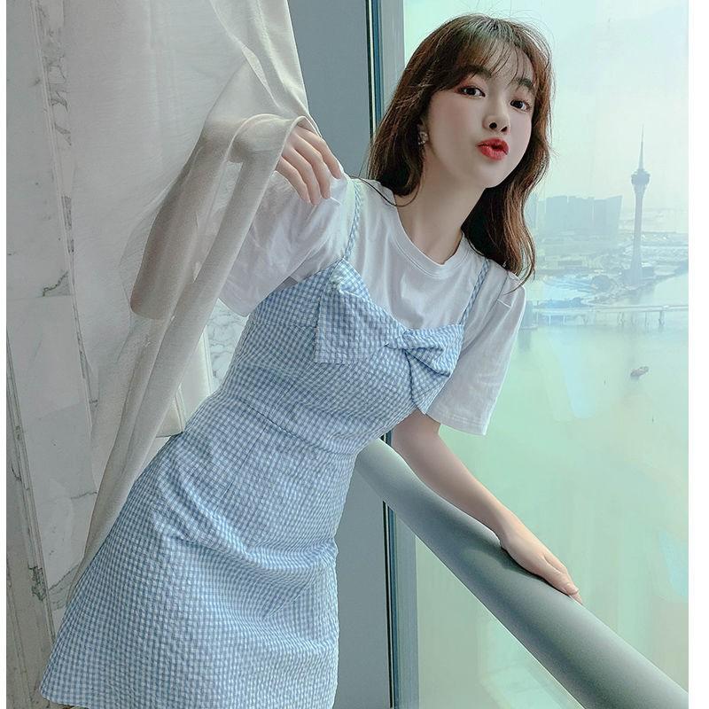 仙女连衣裙夏天小清新公主裙子夏装2020新款女吊带套装两件套洋气