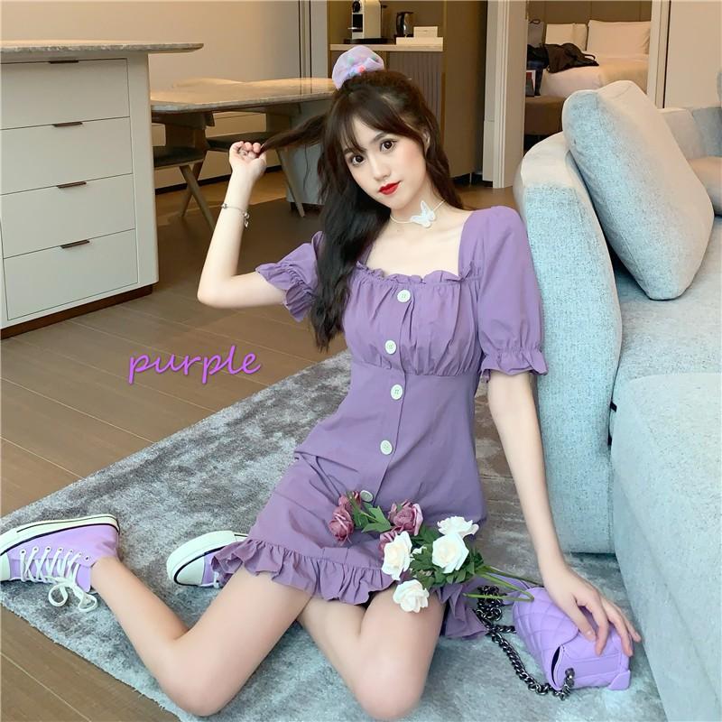 桔梗法式复古轻熟风仙女裙chic温柔紫色裙子泡泡袖方领连衣裙女夏