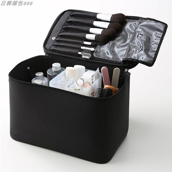无印良品化妆包硬款尼龙布防水化妆箱日韩简约旅行化妆师专用ins