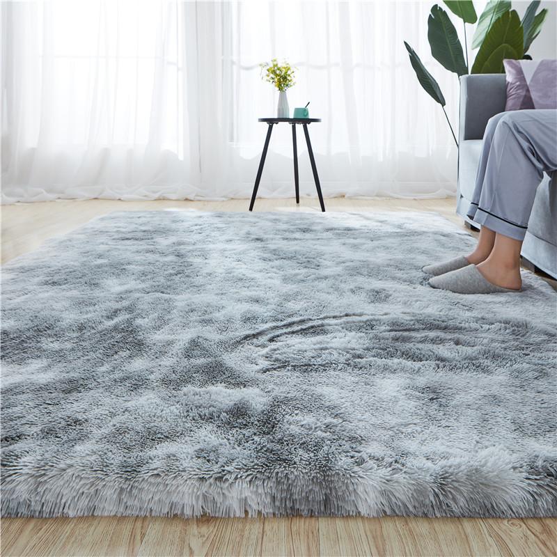 北欧毛绒客厅沙发茶几地毯卧室可爱房间床边毯满铺榻榻米定制地垫