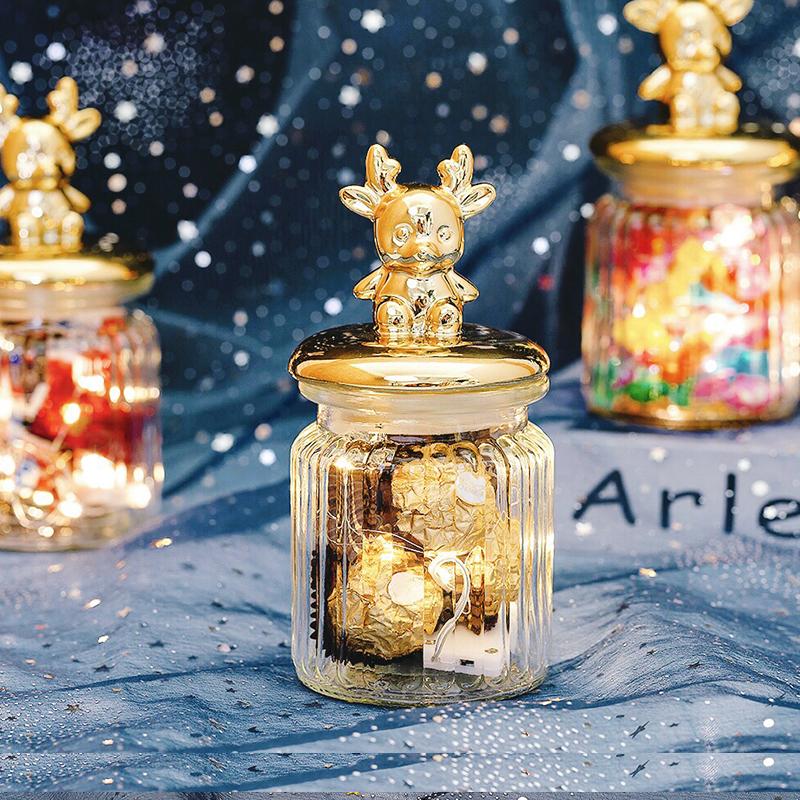 原创小鹿喜糖罐玻璃瓶子结婚回礼伴手礼创意礼盒玻璃罐装糖果