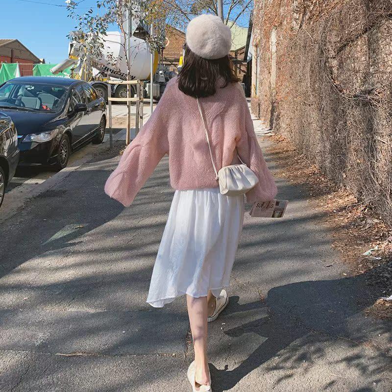RoDear小狍 粉色慵懒风套头毛衣女 韩版马海毛宽松外穿针织衫秋季