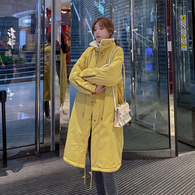 羊羔毛棉衣外套女加厚韩版中长款休闲风女装2019新款潮港风棉服女