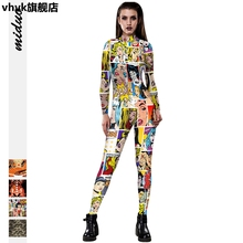vhvk3D digital print women's slim Jumpsuit casual pants