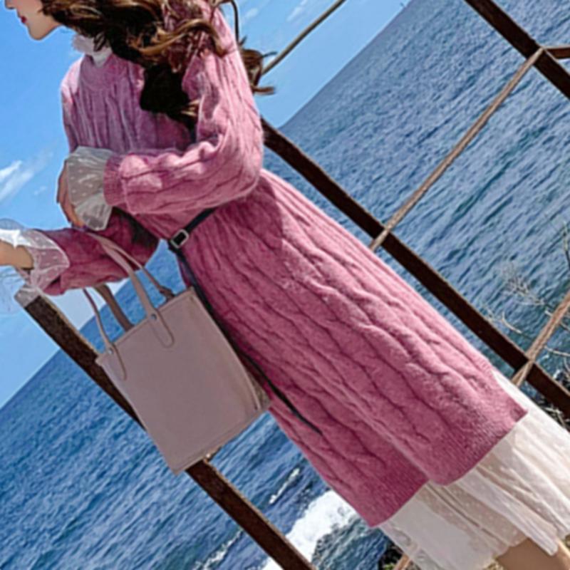 仙女裙内搭针织打底连衣裙女秋冬天配大衣的超仙毛衣裙子两件套装