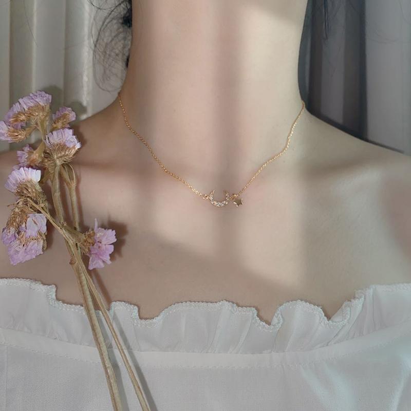 925银月亮星星项链简约ins气质网红微镶锁骨链女潮轻奢小众设计