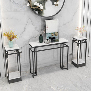 New Chinese style porch table modern minimalist marble nordic living room home light luxury iron art strip desk shelf