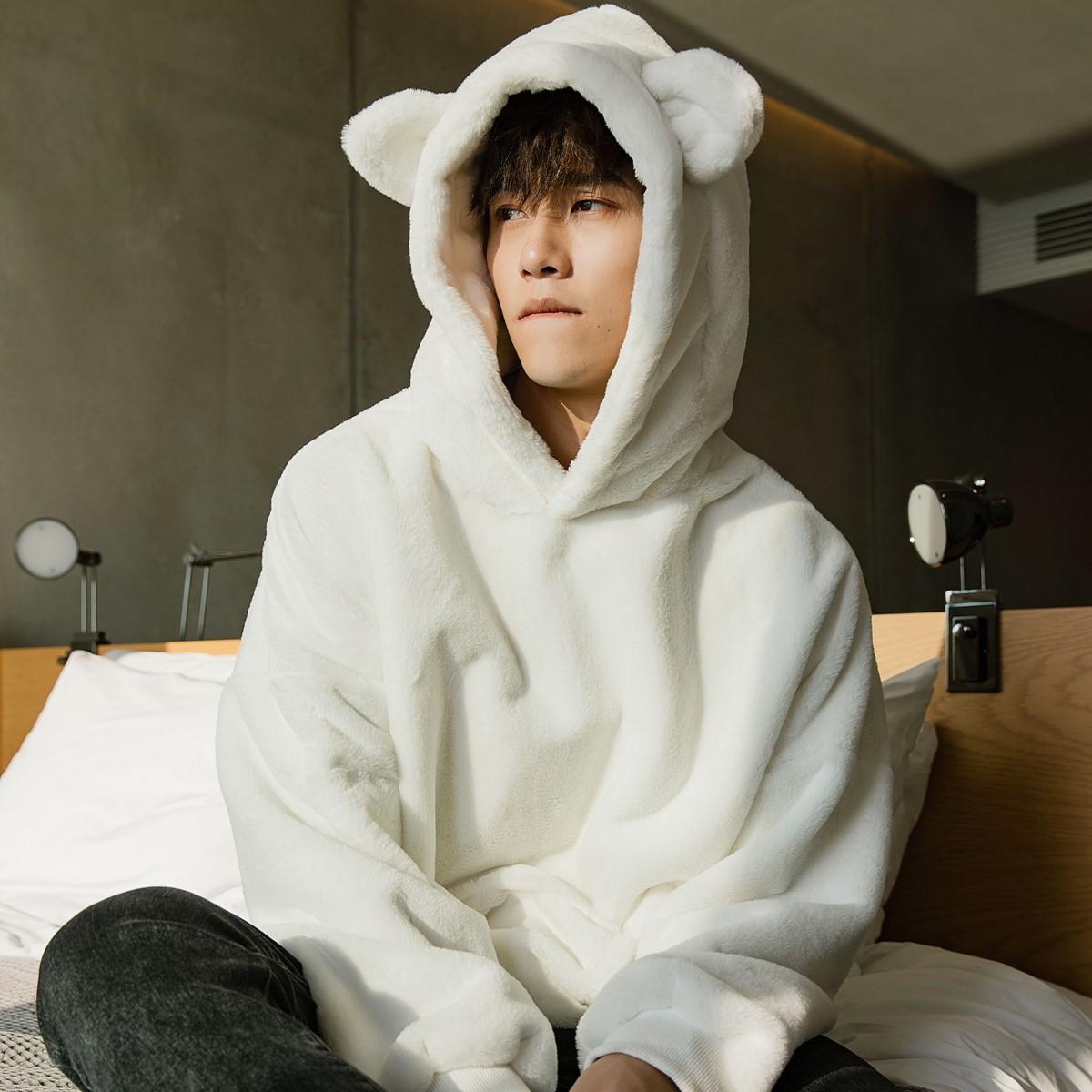 西西里男装韩版潮流男士秋冬季上衣宽松加厚加绒兔耳朵连帽卫衣男