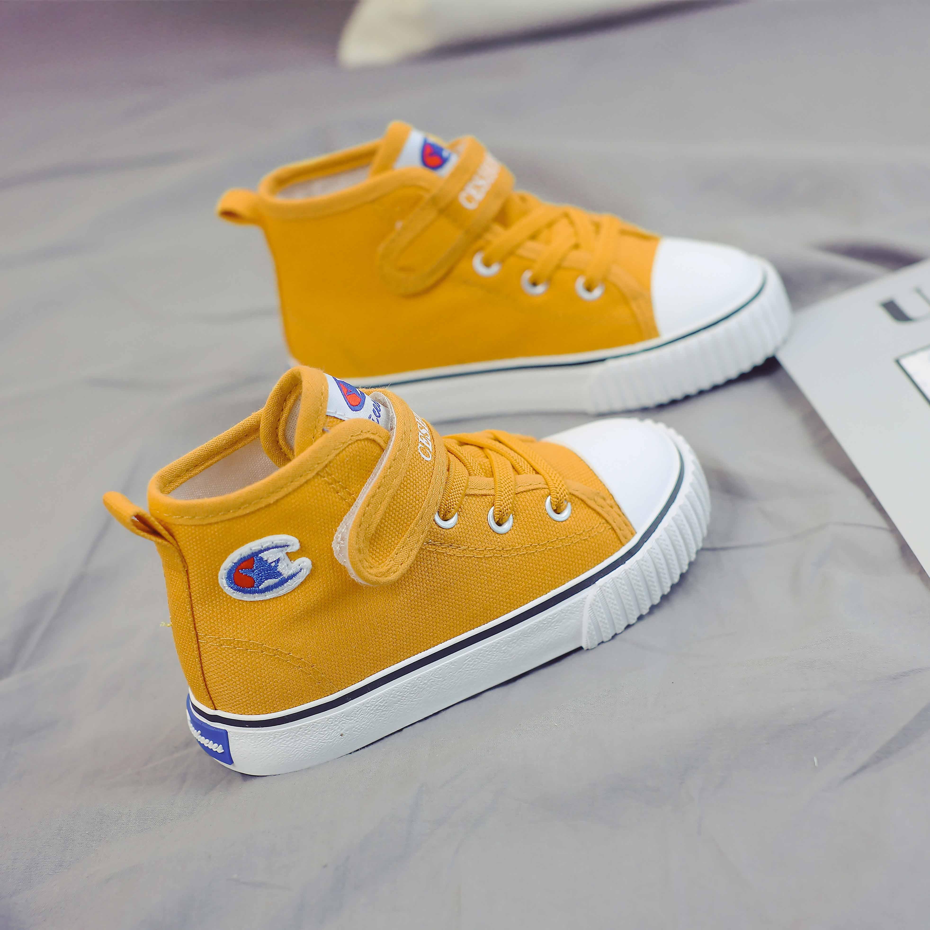 儿童高帮帆布鞋女童鞋子2020夏季新款男童布鞋宝宝鞋小童韩版板鞋