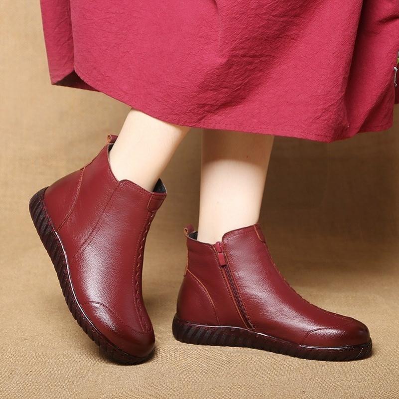 平底短靴子民族风妈妈鞋秋冬鞋子真皮软底加绒棉鞋冬季中老年女鞋