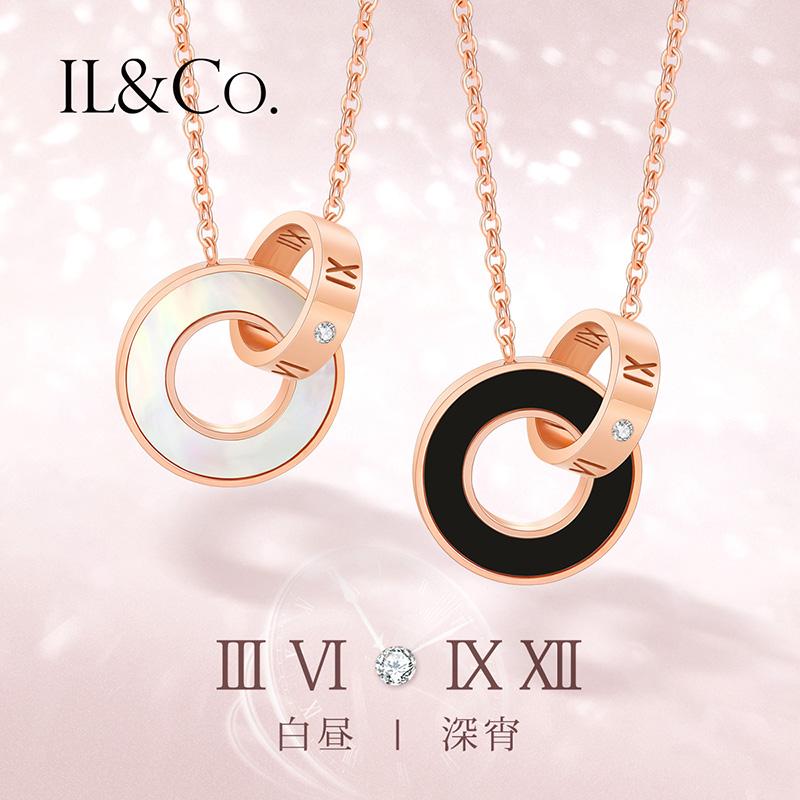 ILCO珠宝玫瑰金色钻石项链精钢钻罗马链女锁骨链项真钻闺蜜礼物T
