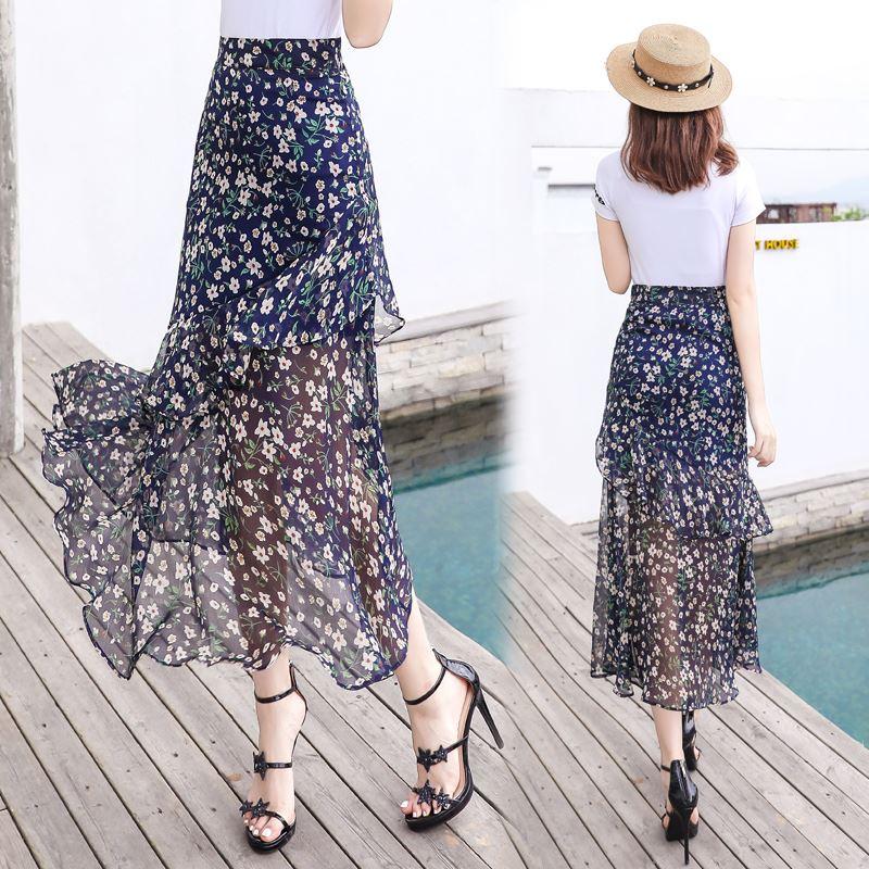 雪纺半身裙女2020夏季新款中长款清新泫雅小碎花包臀裙鱼尾裙长裙