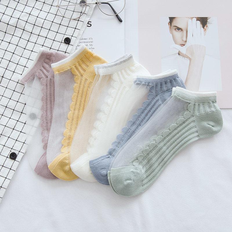 袜子女韩版短袜丝袜女夏季薄款日系水晶袜玻璃丝浅口船袜透明隐形