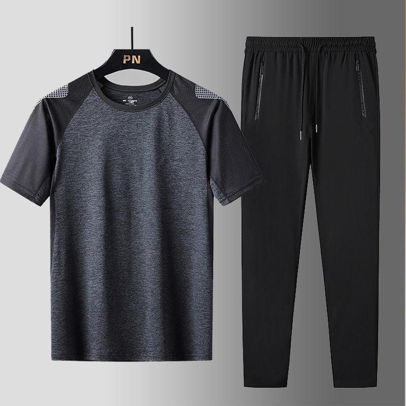 运动套装男夏季运动大码冰丝速干衣服休闲男装长裤短袖T恤
