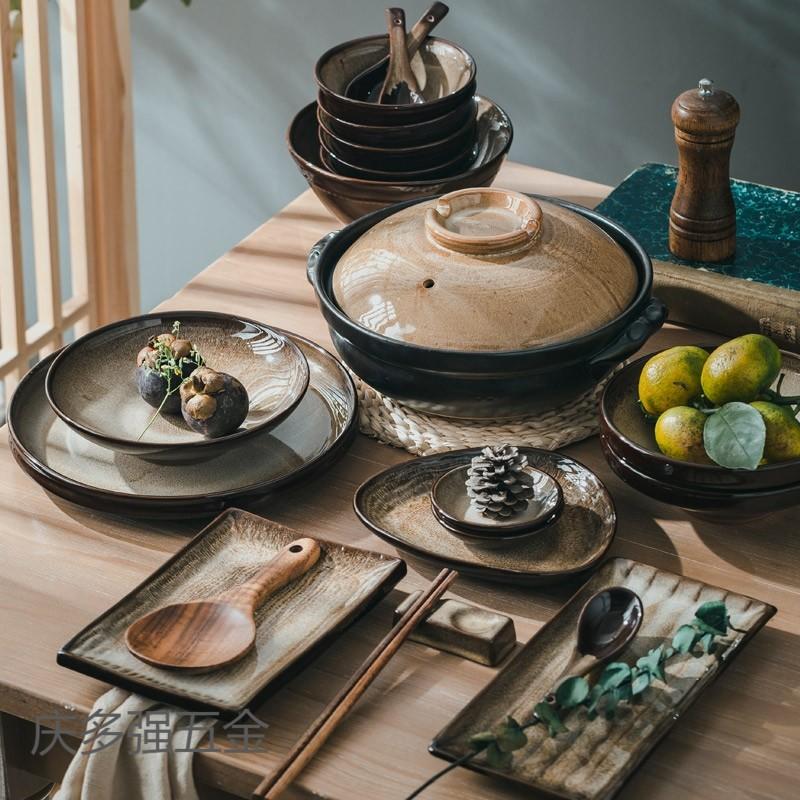 碗碟套装家用景德镇紫砂窑变餐具组合高档日式盘碟中式和风轻奢华
