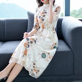 2020新款品牌女装台湾雪纺连衣裙五分袖气质显瘦高端名媛裙子夏季
