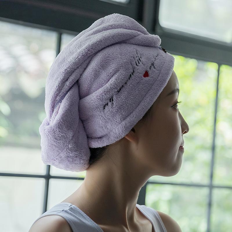 干发帽女包头巾强吸水加厚日系可爱浴帽擦头发毛巾个性刺绣干发巾