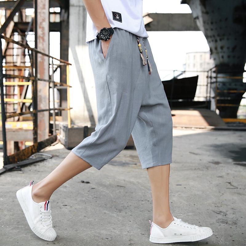 亚麻裤男夏季薄款宽松休闲裤2020夏装运动大码短裤清凉透气七分裤
