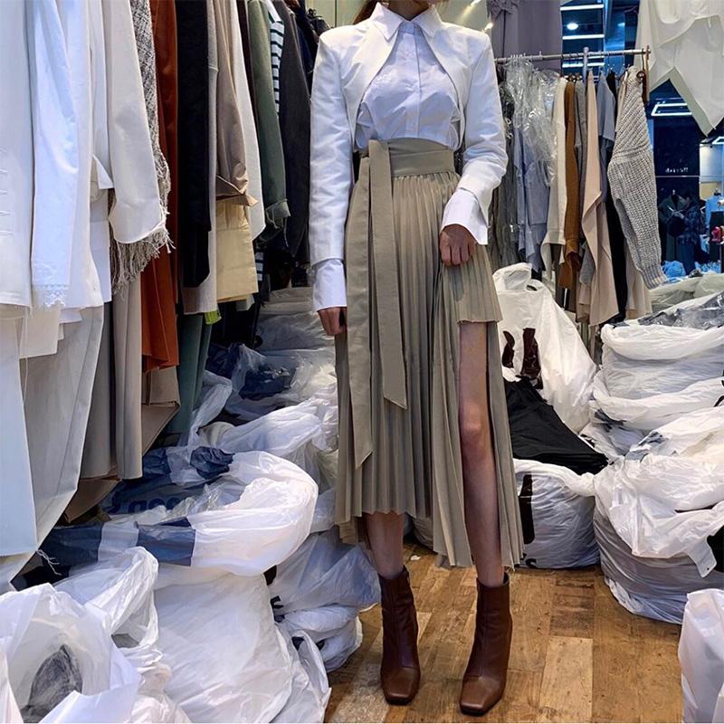韩版2020春夏新款女装时尚高腰百褶系带设计感过膝中长款半身裙女