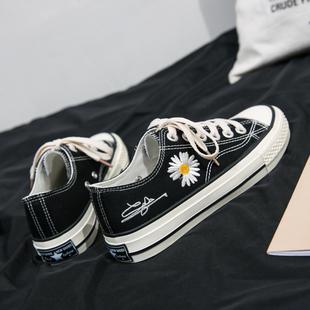 小雏菊帆布鞋女2020年春季新款ulzzang低帮学生板鞋百搭流行鞋子