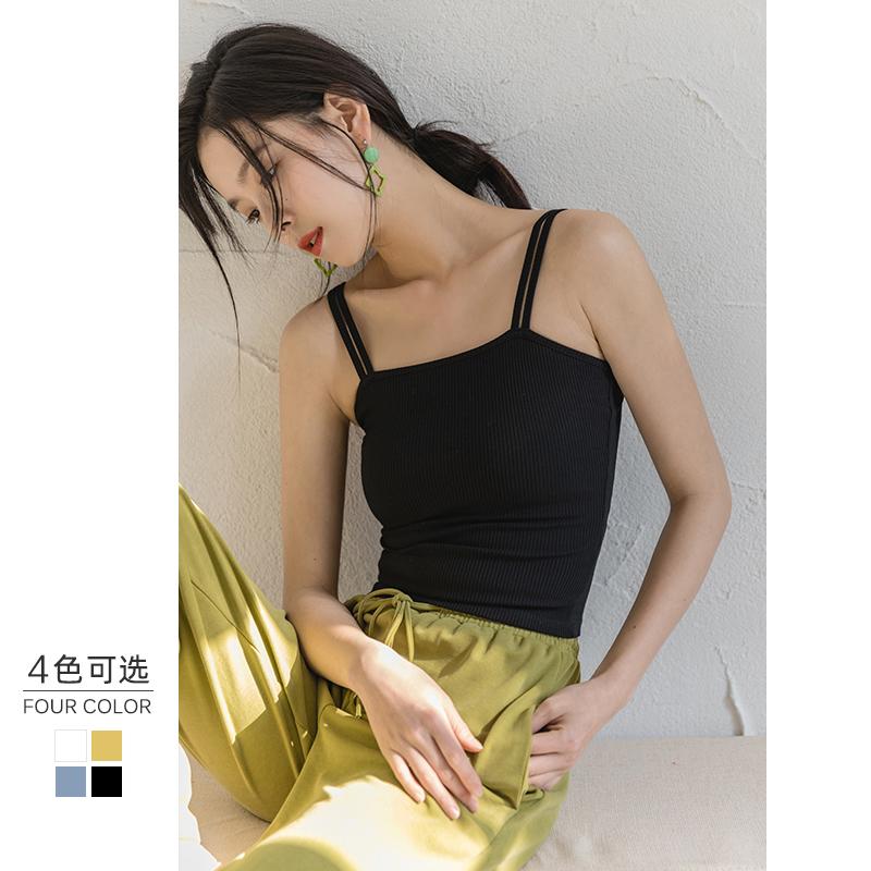 小吊带背心女2020春夏新款外穿内搭修身打底衫抹胸性感白黑色上衣