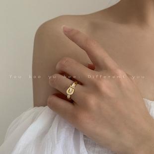 气质潮人皮带扣微镶锆石戒指女ins小众设计日式轻奢食指指环网红图片