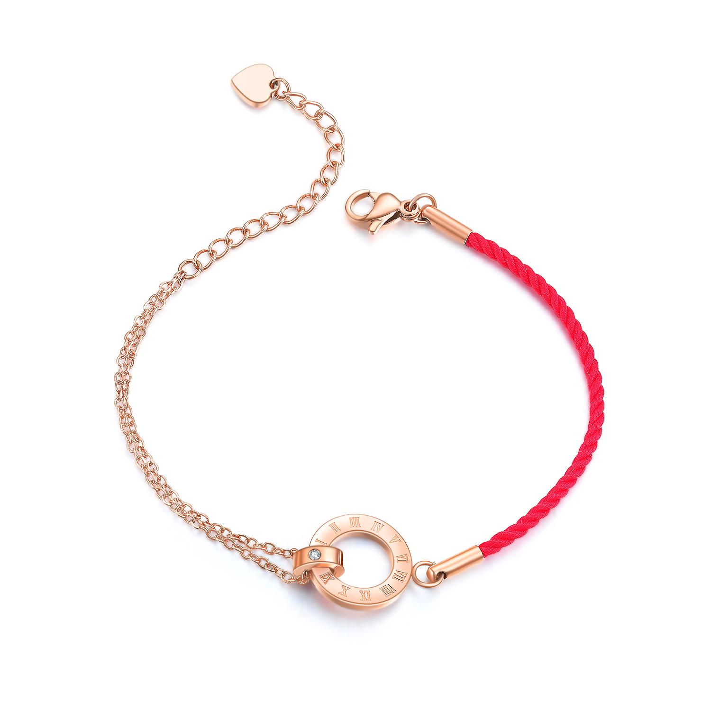 FORMYONE珠宝时光里的爱钻石手镯玫瑰金色红绳钻石手链