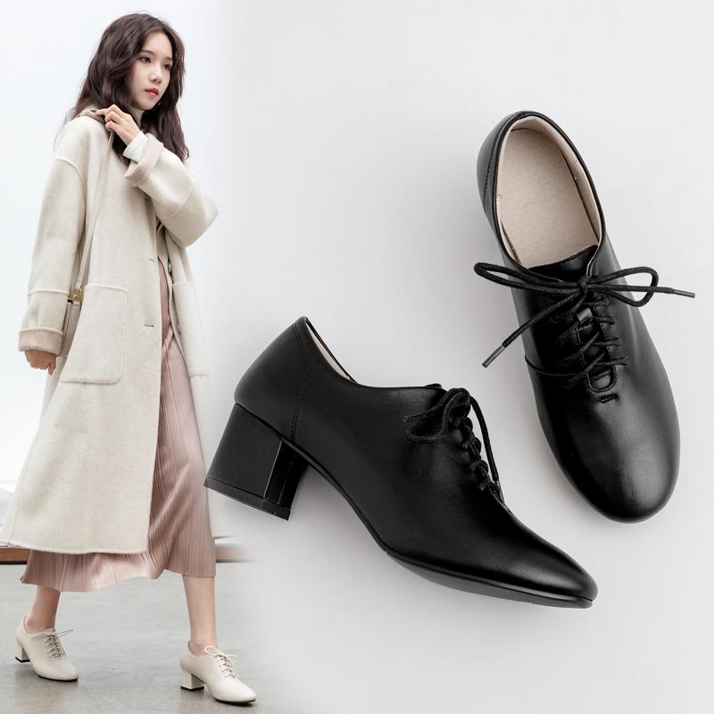 系带深口单鞋女粗跟2020春秋新款英伦小皮鞋中跟软皮黑色高跟工作满118元减10元