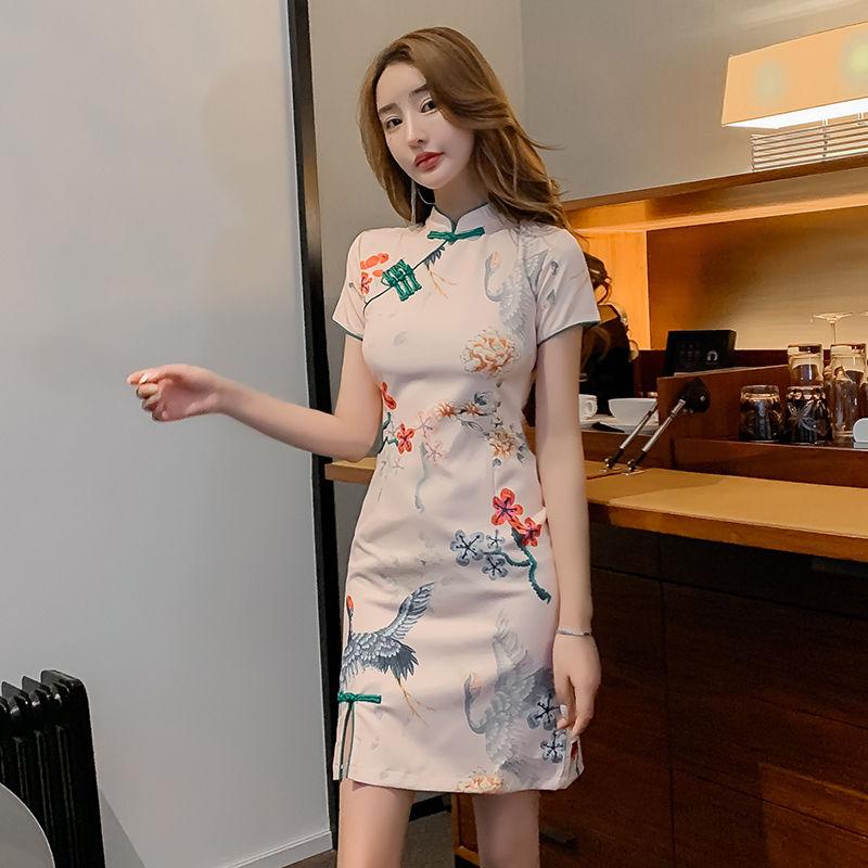 大码女装2020年夏季新款中国风修身显瘦改良版旗袍连衣裙