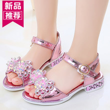 女童凉鞋夏季新式5中大童9(小)ku11跟公主an2岁女学生8跳舞鞋防滑