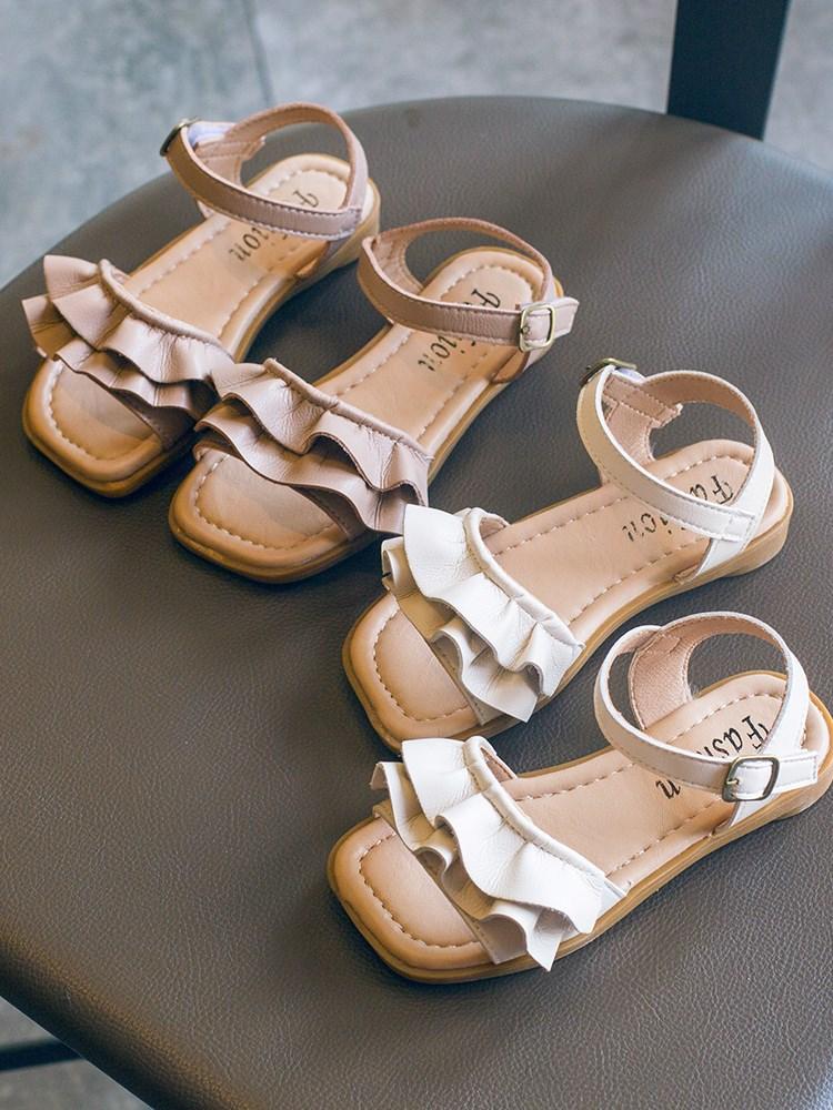 2020年夏季新款韩版木耳边女童凉鞋小女孩公主鞋夏天软底儿童鞋子