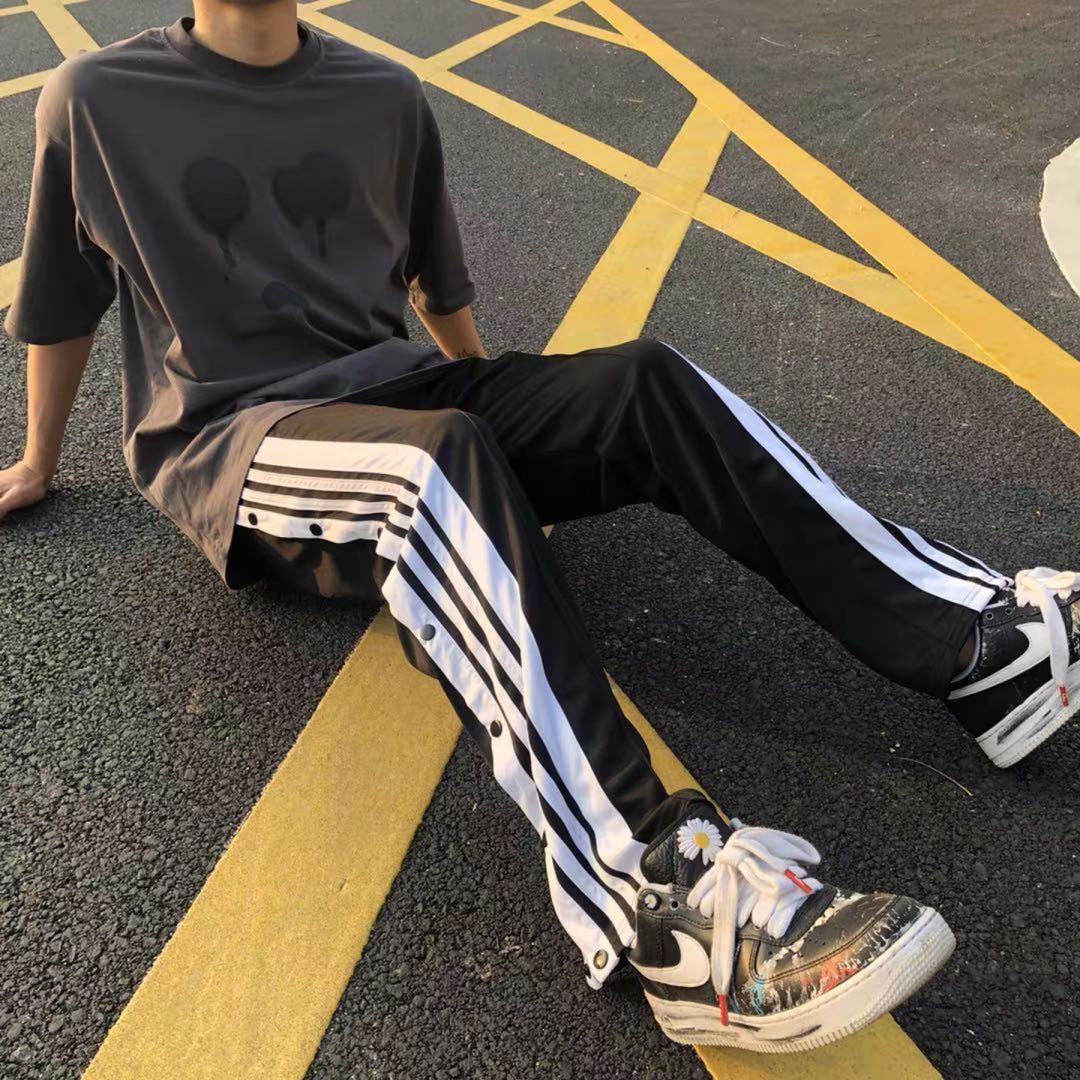 HELIPORT直筒排扣裤男女国潮高街宽松长裤面子嘻哈黑白条纹休闲裤
