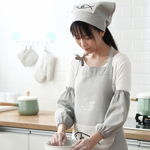 Cotton and linen plain waterproof apron sleeves kitchen oil-proof apron cooking clothes daily housework anti-dirty sleeves