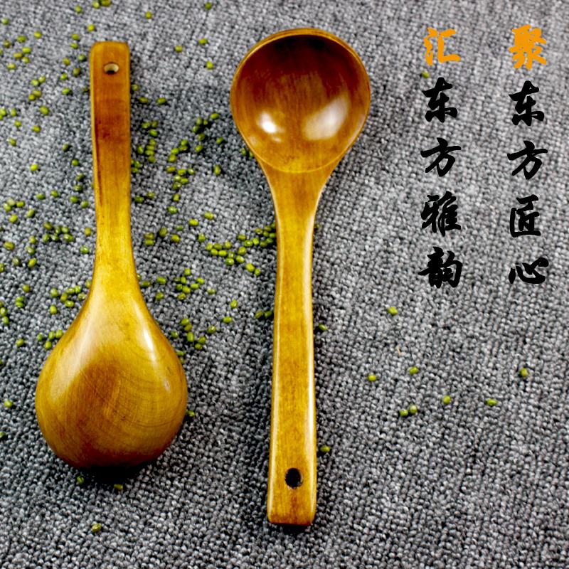 汤勺家用长柄勺子木头盛汤喝粥勺饭勺锅铲木勺子日韩式大号木质勺