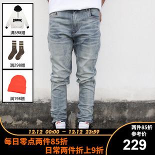 【SIMOK官方店】斯摩克新品副线水洗做旧修身小脚弹力蓝牛仔裤男