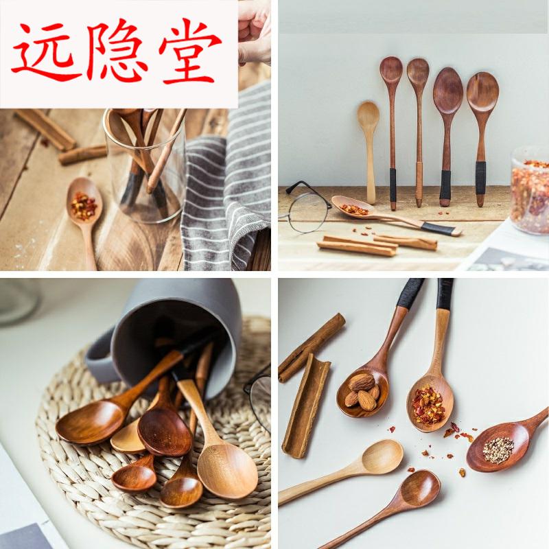 小木勺子长柄韩式日式家用吃饭用韩国木头木质大复古可爱