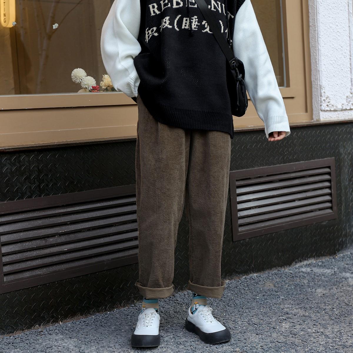加大码女装韩版220斤胖妹妹mm灯芯绒裤子秋冬显瘦直筒宽松休闲裤满78元减20元