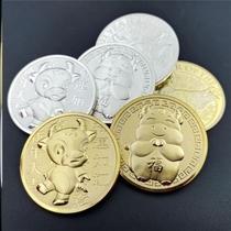 2021福字币牛年生肖纪念币新年礼品硬立体浮雕生肖币牛币祝福。