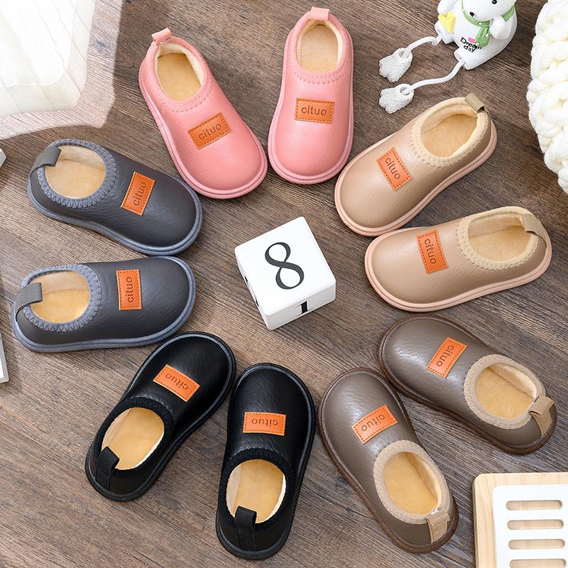 宝宝棉拖鞋防滑室内小童冬季家居带后跟皮面防水包跟儿童棉鞋秋冬满26元减10元