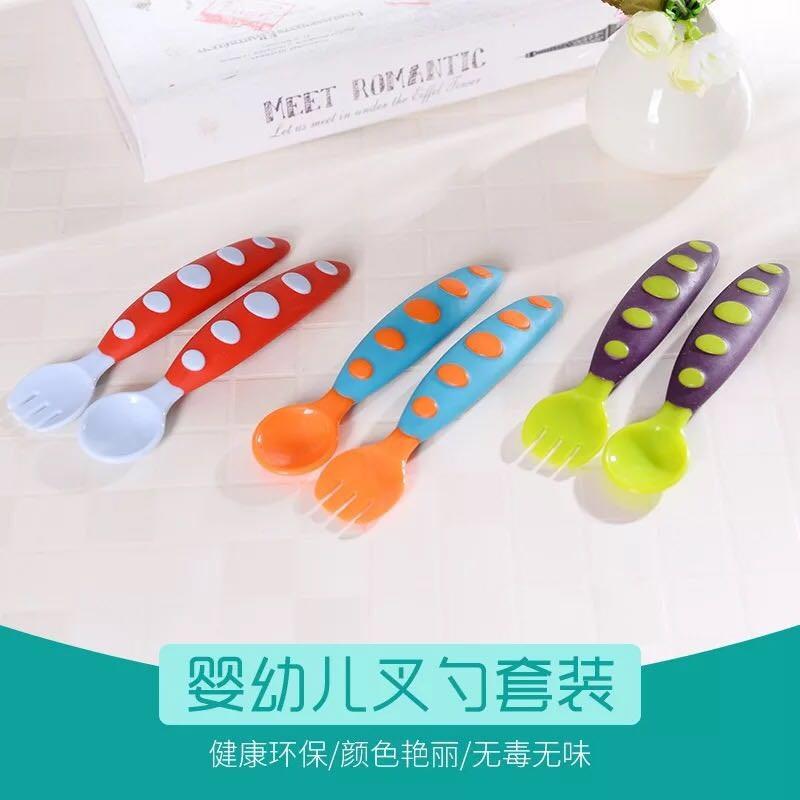 宝宝餐具儿童小汤匙1-2岁用的叉子勺子套装自己学吃饭安全训练勺