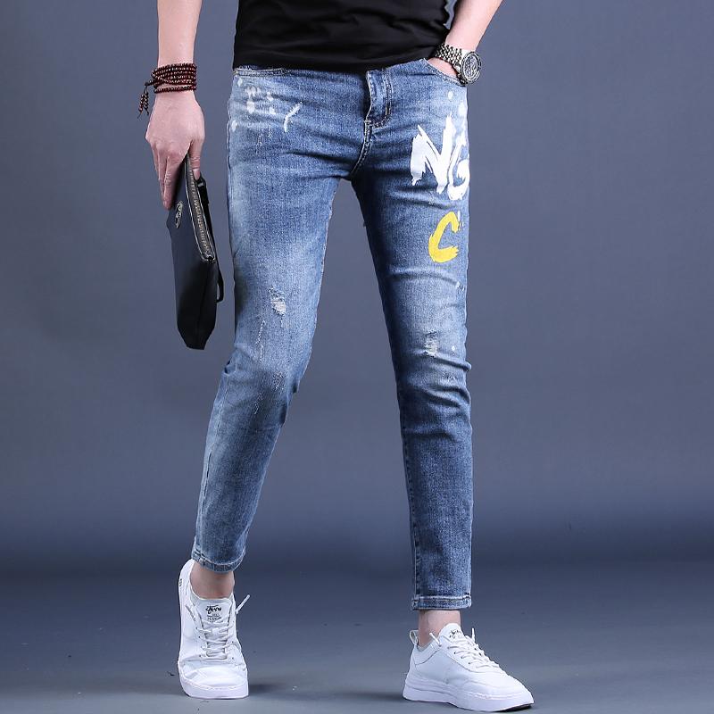 男士牛仔裤夏季九分潮牌修身小脚裤弹力薄款9分休闲裤子印花男装
