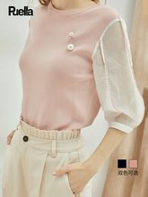拉夏贝尔旗bu2(小)清新初ia新款韩款女装学生优雅泡泡袖