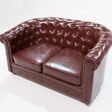 简约欧式皮沙ab3咖啡厅酒im发双的三的皮艺沙发单的复古沙发