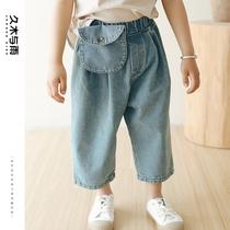 儿童牛仔裤男童2021年秋装新款休闲洋气宽松大口袋灯笼裤宝宝裤子