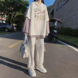 春秋季套装女学生韩版宽松印花连帽假两件卫衣束脚休闲裤两件套潮