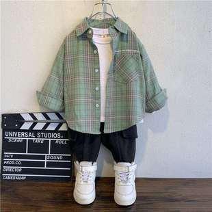 男童2021新款纯棉衬衫春秋款中小童衬衣儿童装洋气宝宝上衣薄外套