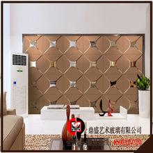 电视墙zd镜银镜金茶ce工艺玻璃艺术玻璃菱形镜背景墙效果图。