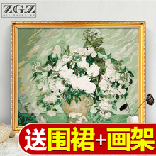 数字油画客li2花卉卡通bu画手绘装饰画梵高白玫瑰