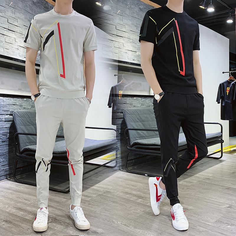 短袖t恤套装男2021夏季新款韩版网红时尚潮流男装休闲圆领两件套